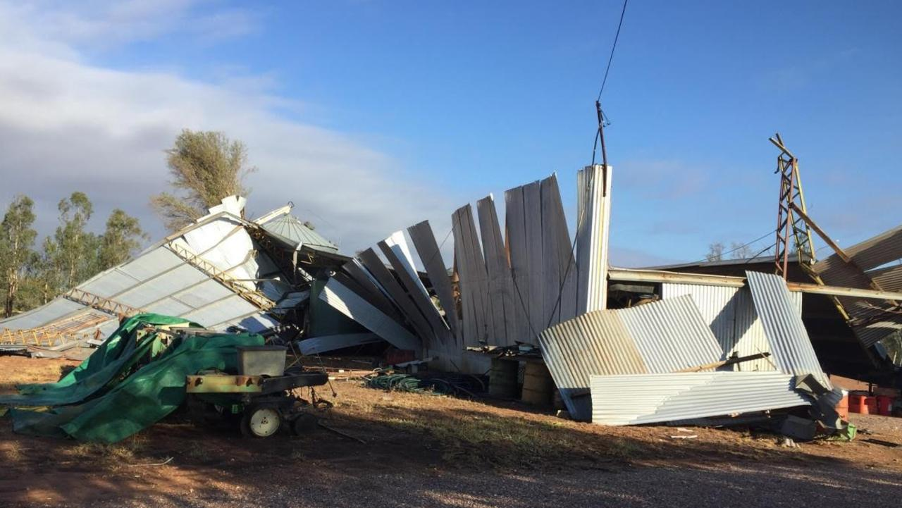 Capella farmer Neil Dunbar was in his machinery shed when it blew off in a sudden storm on December 17, 2020. Picture: Contributed
