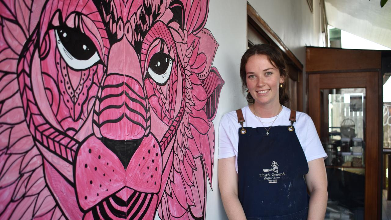 Third Ground Coffee House co-owner Skye Bailey with her artwork. Picture: Melanie Whiting