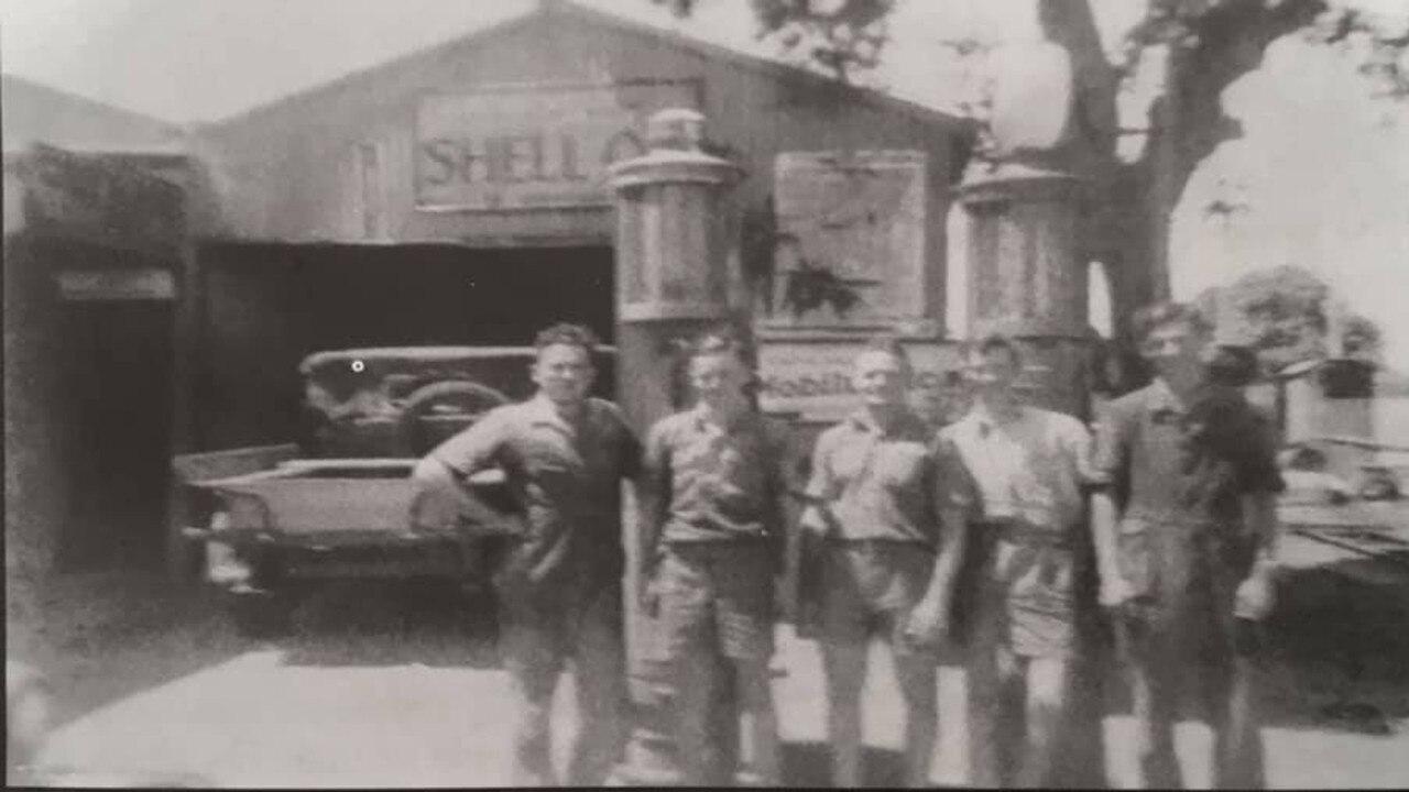 Blue Evans, Ray Everett, Bert Stevenson, Ray Chauntler and Tom Leach from Proserpine Motors in 1945. Photo: Proserpine Museum Magazine