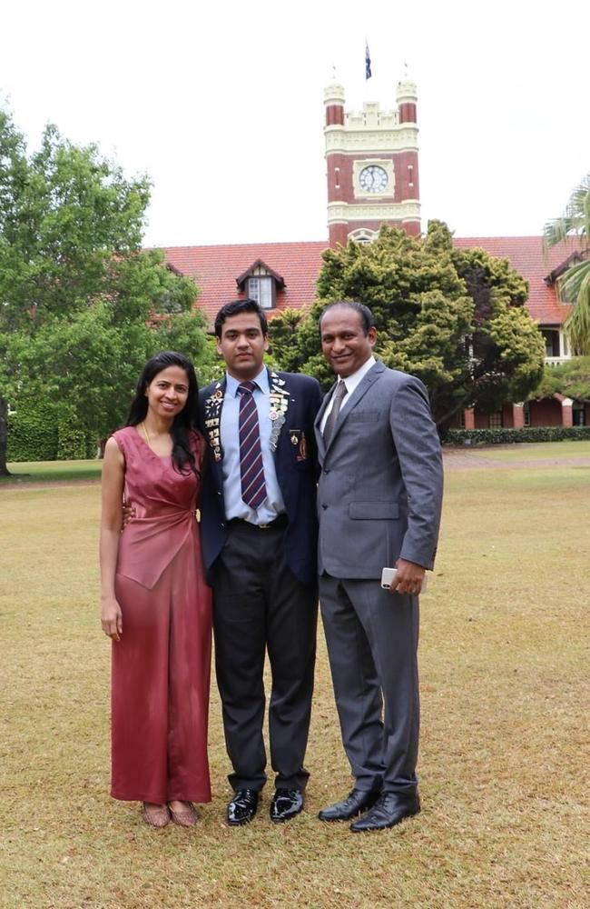 TSS student Vishaak Gangasandra, 17, with his parents. The Gold Coast student received an ATAR of 99.95.
