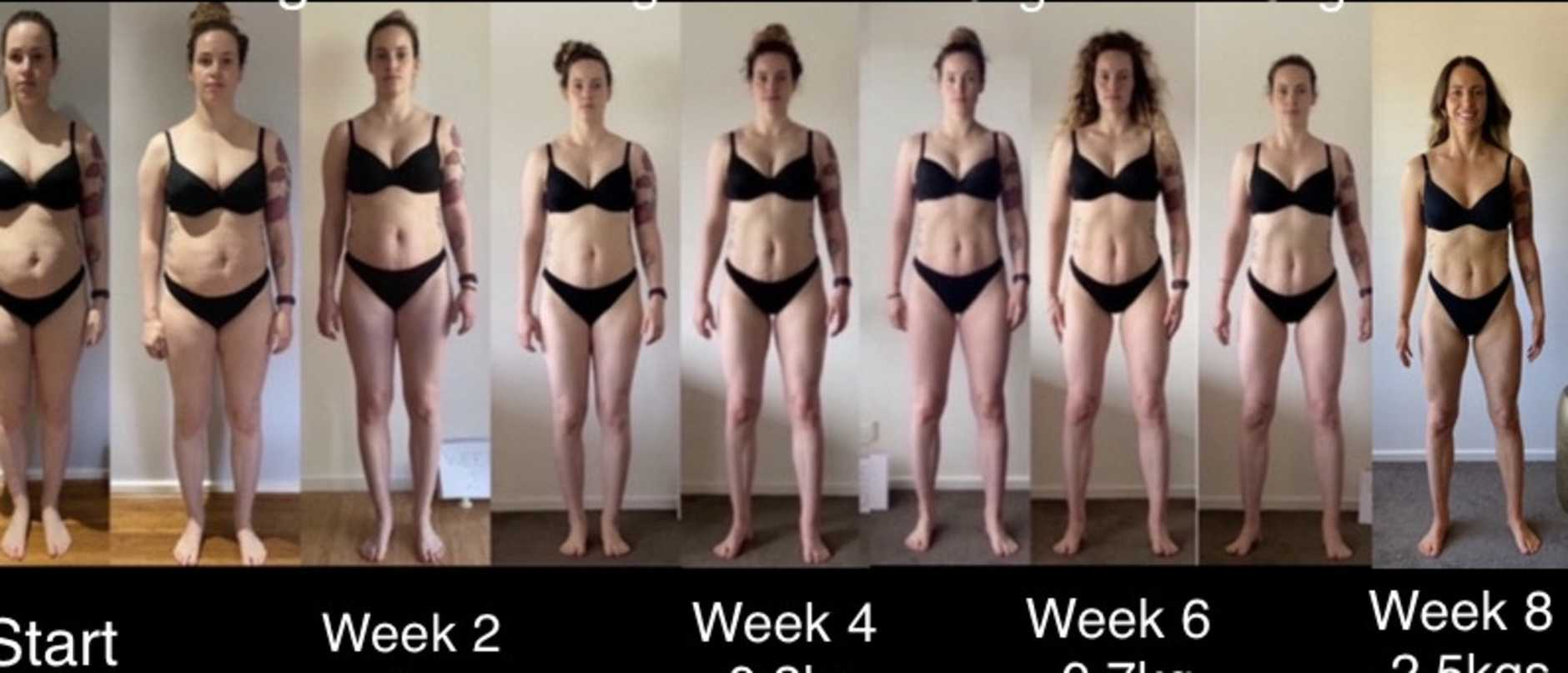 Tamsin Macaffer's epic transformation over eight weeks. Picture: Supplied