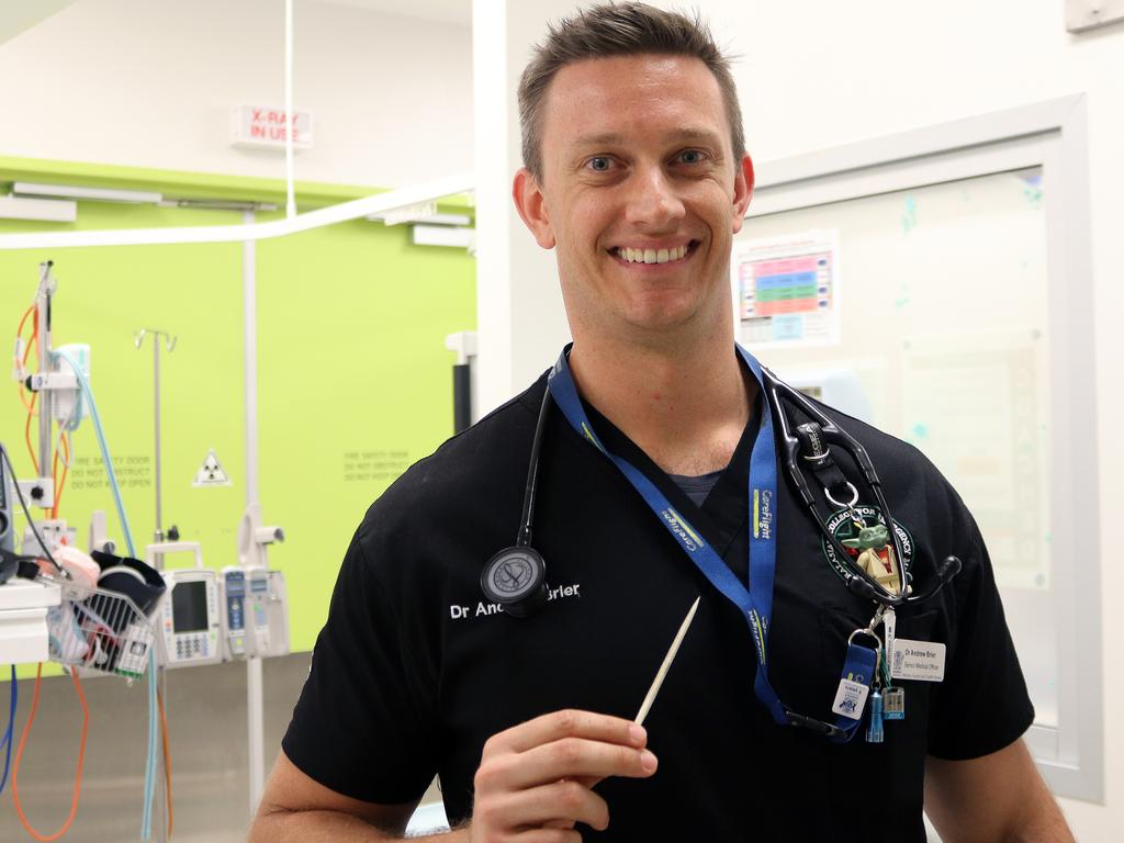 Dr Andrew Brier with a sting ray barb at Mackay Base Hospital. Picture: Contributed