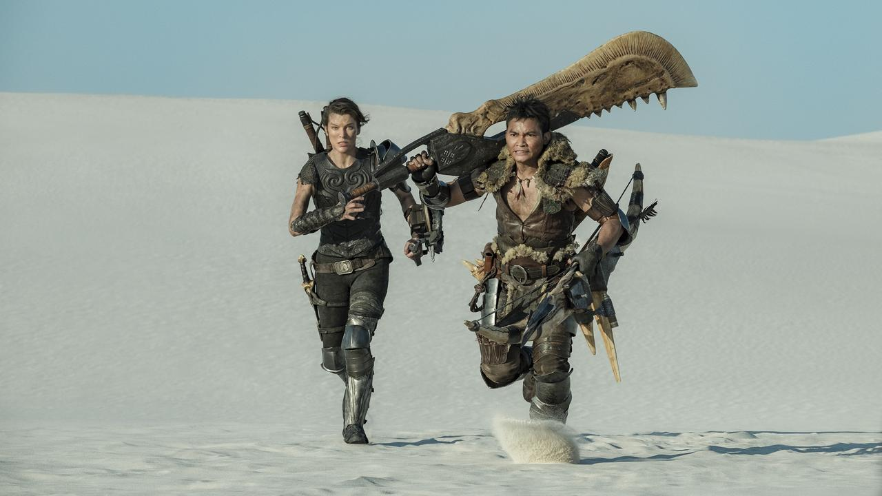 Milla Jovovich and Tony Jaa in Monster Hunter. Picture: Sony.