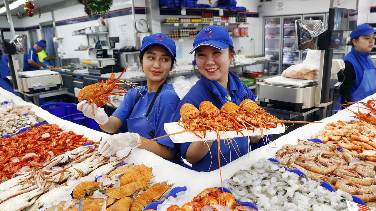 Lobsters on sale at the Sydney Fish Markets Picture: Sam Ruttyn