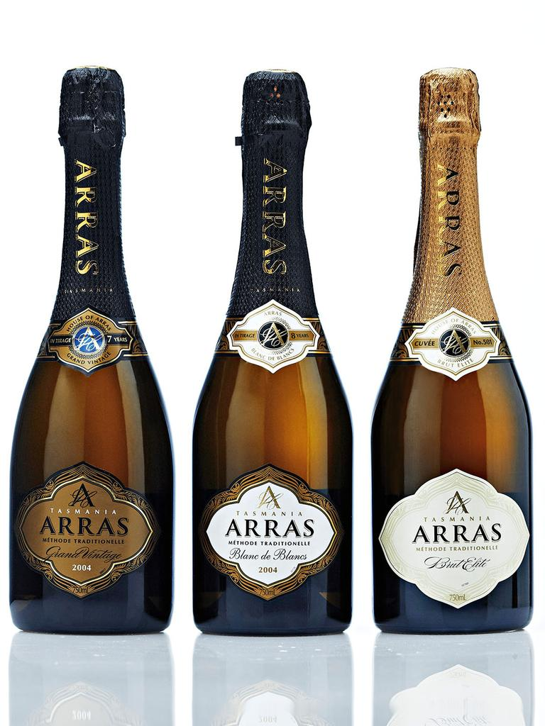 House of Arras offerings, including the highly-ranked Blanc de Blancs (centre). Picture: Supplied