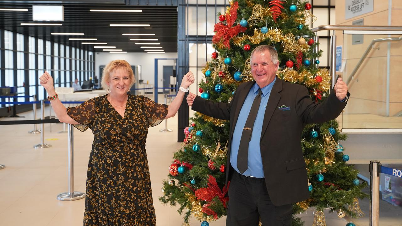 Federal Member for Capricornia Michelle Landry and Acting Mayor Neil Fisher at Rockhampton Airport. Picture: Contributed