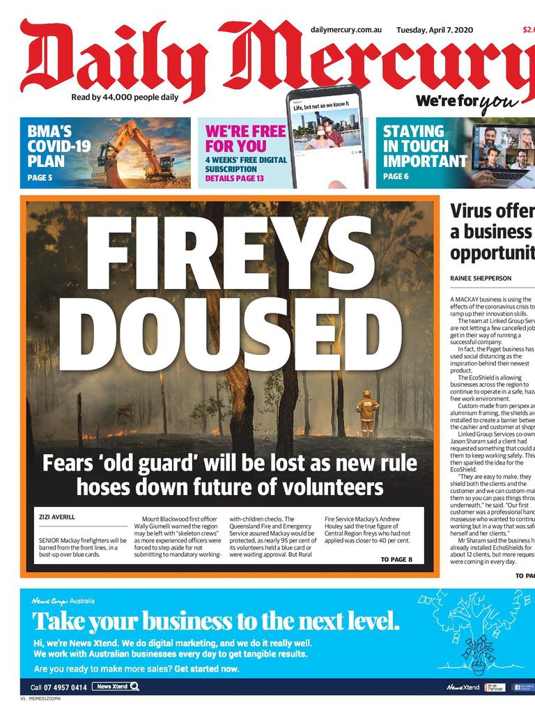 Daily Mercury April 7 front page