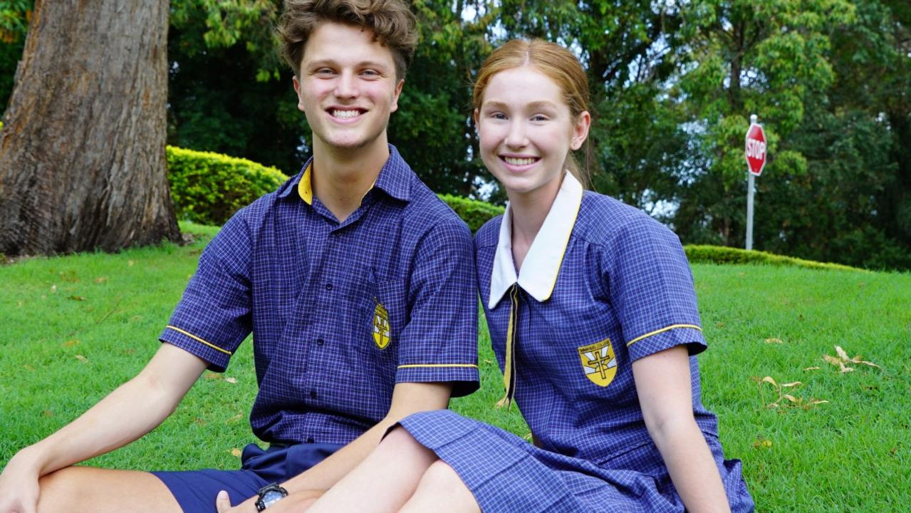 Immanuel Lutheran College school captains Hayden Morris and Adrienne Halpin. Adrienne received one of the top ATARs of her cohort.