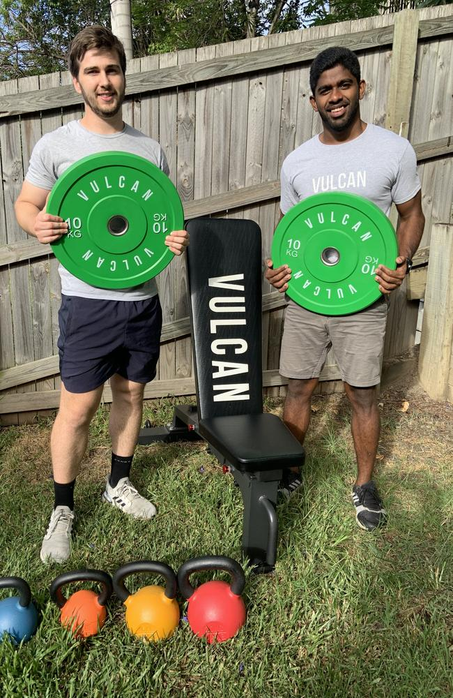 Best mates Justin Riley, 26 and Dhilukshan Ramalingam, 26, have made $400,000 in profits since launching their online gym business back in March. Picture: Supplied