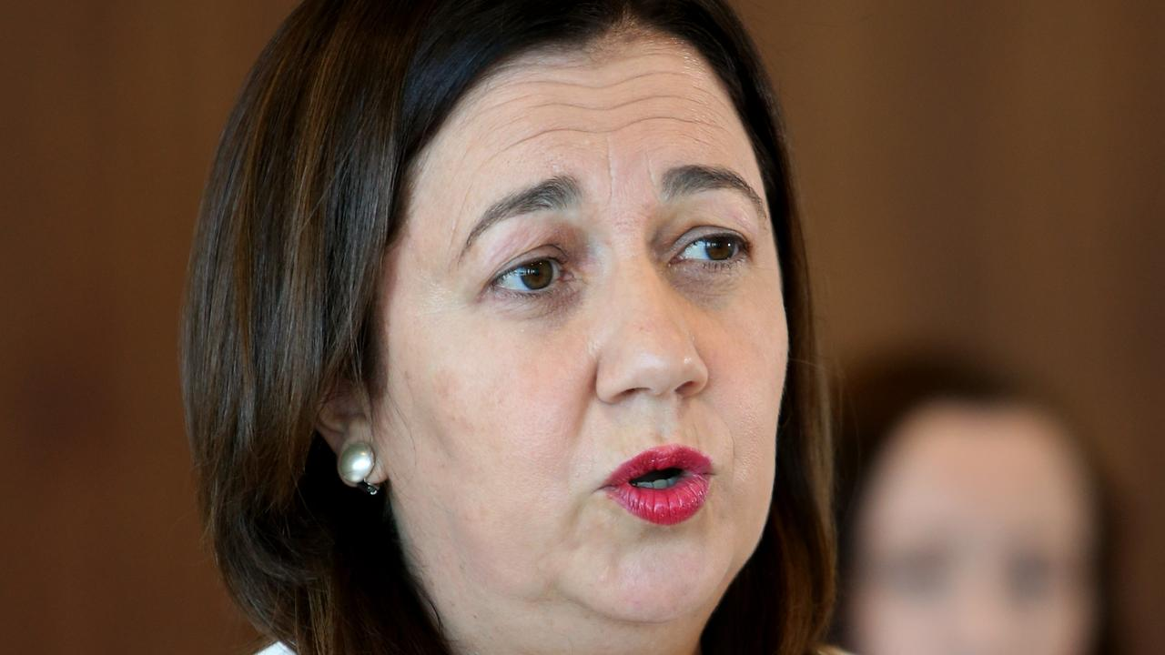 Premier Annastacia Palaszczuk at a media conference on Sunday. Picture: Steve Pohlner