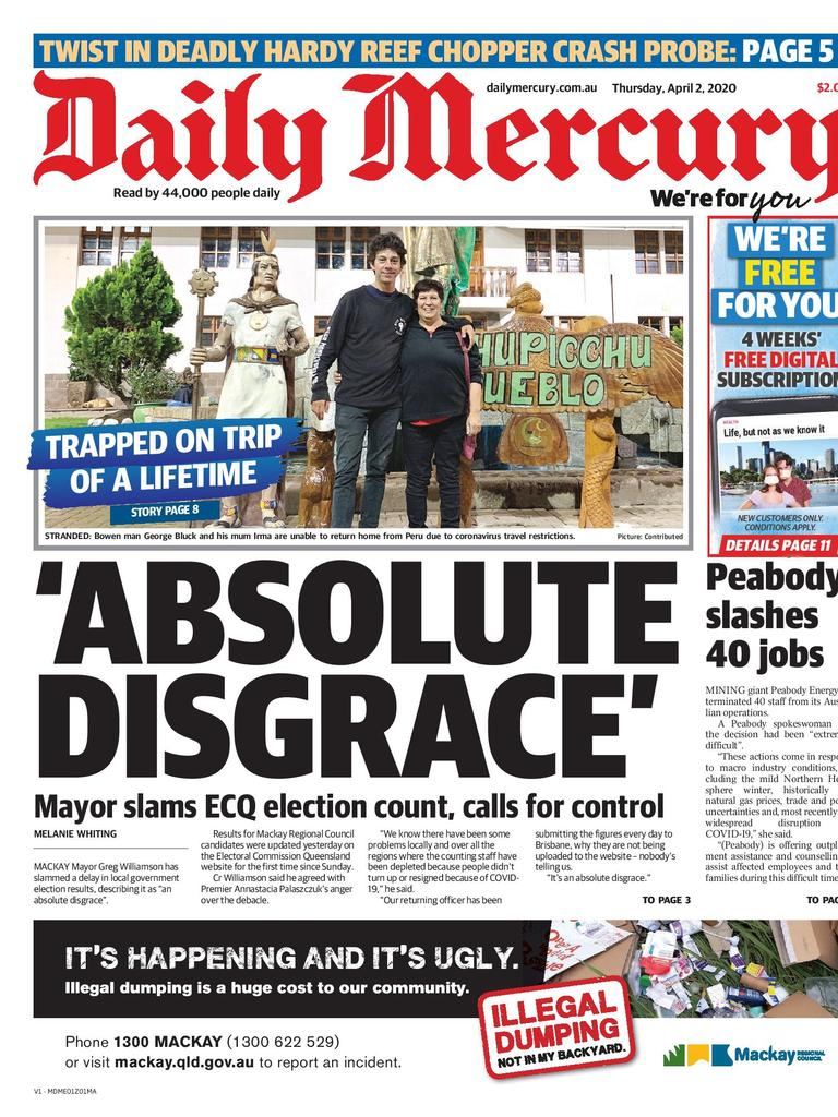 Daily Mercury April 2 front page