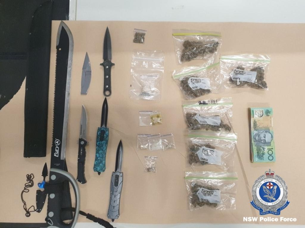 Some of the weapons, drugs and cash seized during the operation. Pictures: NSW Police