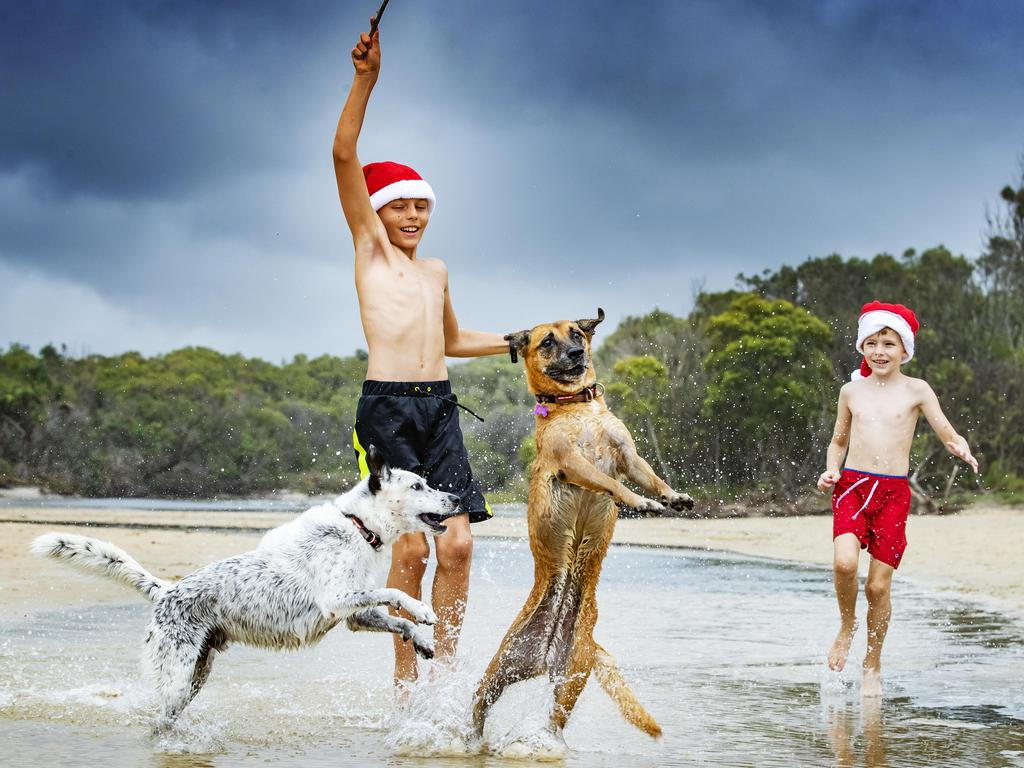 Brothers Will 10, and Kade Page, 6, playing with their dogs Rusty and Pippy on a stormy Christmas Day morning at Stumers Creek on the Sunshine Coast last year. Picture: Lachie Millard