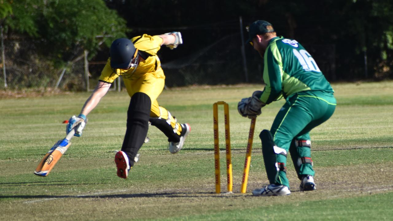 Frenchville wicketkeeper Lachlan Hartley whips the bails off in one of several runouts on Saturday. Photo: Pam McKay
