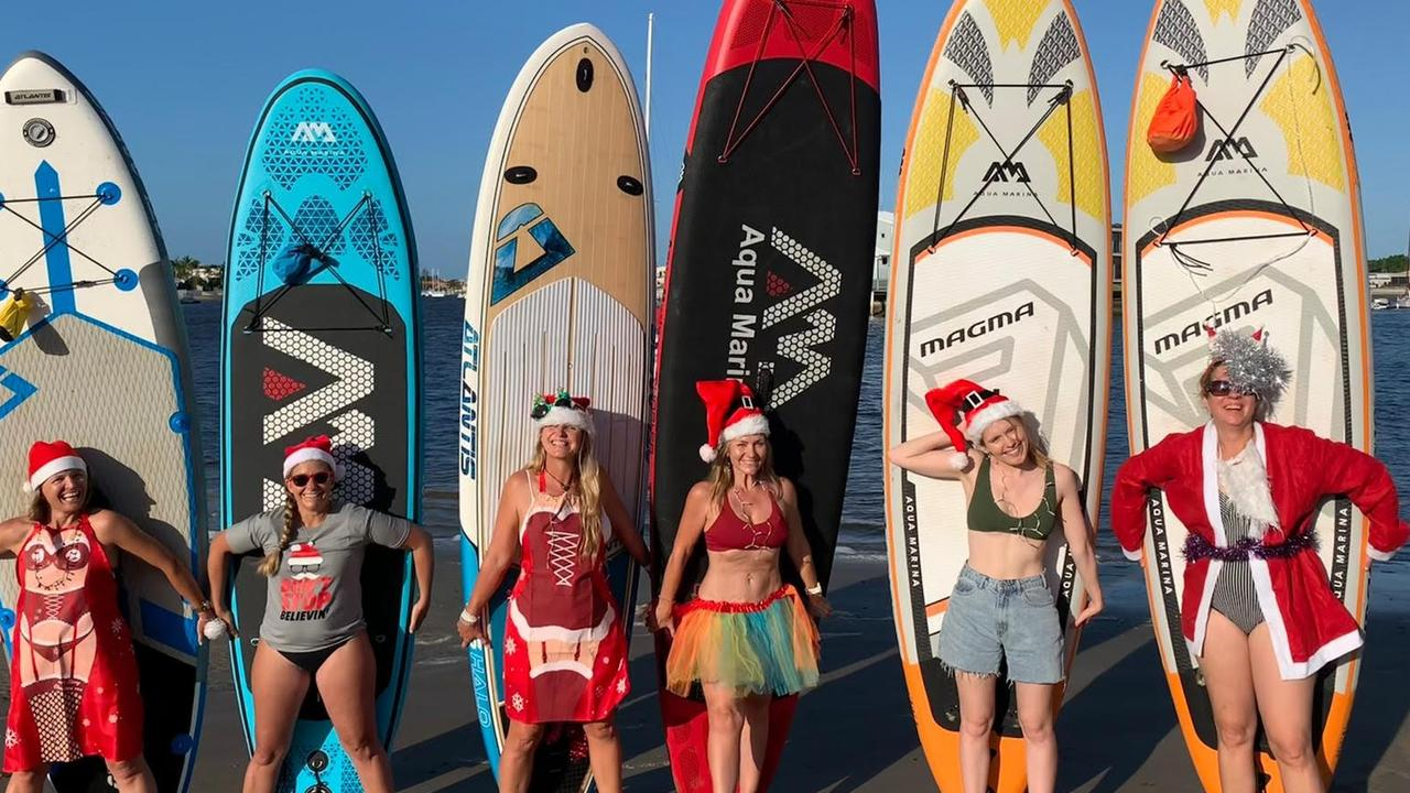 Nicole Ramsey, Brooke Rogers, Kylie Gretener, Sam Mallinder and Susanne Breeze pictured during their Christmas themed paddle on the Mooloolah River. Picture: Supplied.