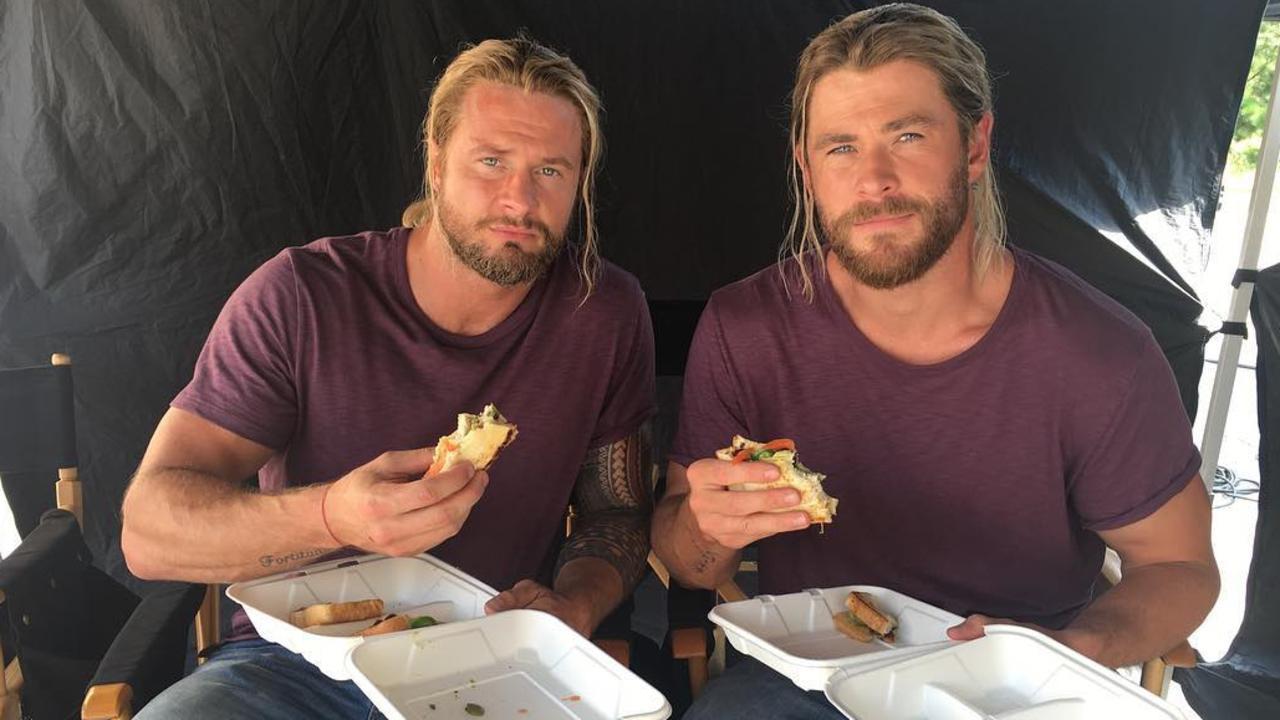 Bobby Holland Hanton and Chris Hemsworth on the set of Thor: Ragnarok in Queensland in 2016. Picture: Instagram/ bobbydazzler84
