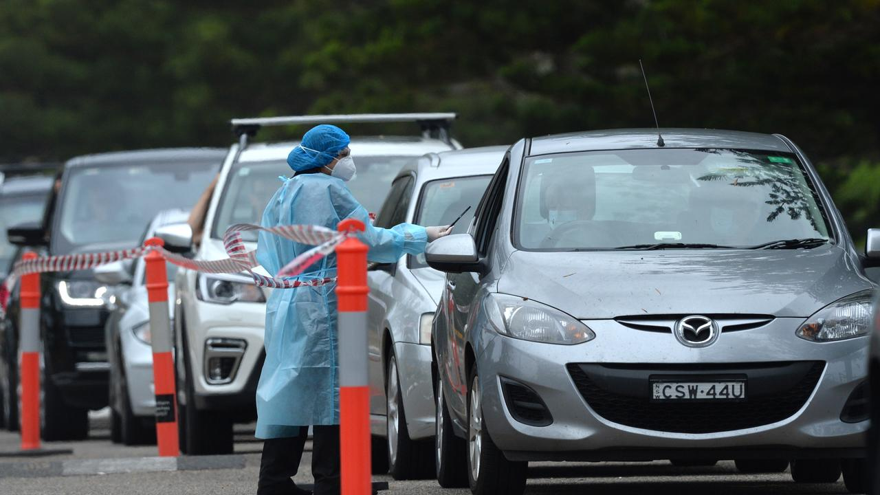 Northern Beaches residents attend a drive thru pop up covid testing clinic at Newport Beach. Picture: Jeremy Piper