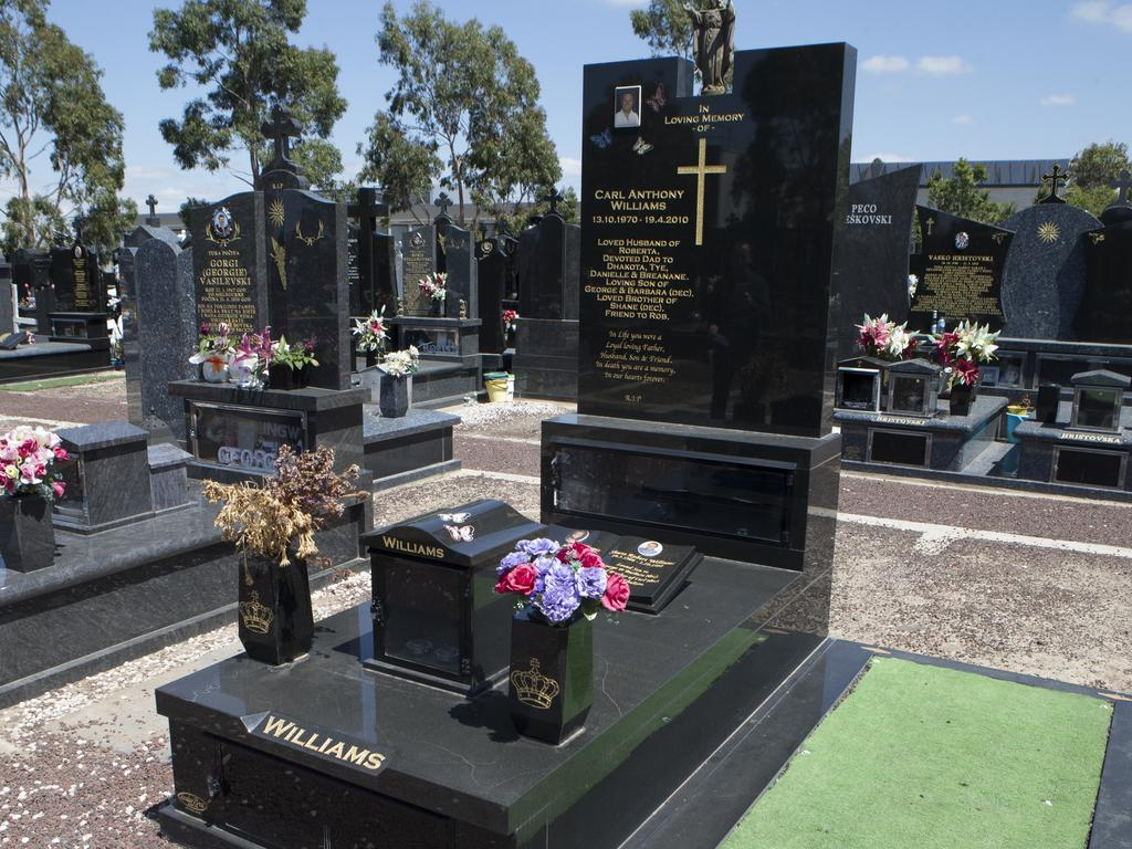 Carl Williams' grave at Keilor Cemetery is not exactly what you would call 'modest'. Picture: David Crosling