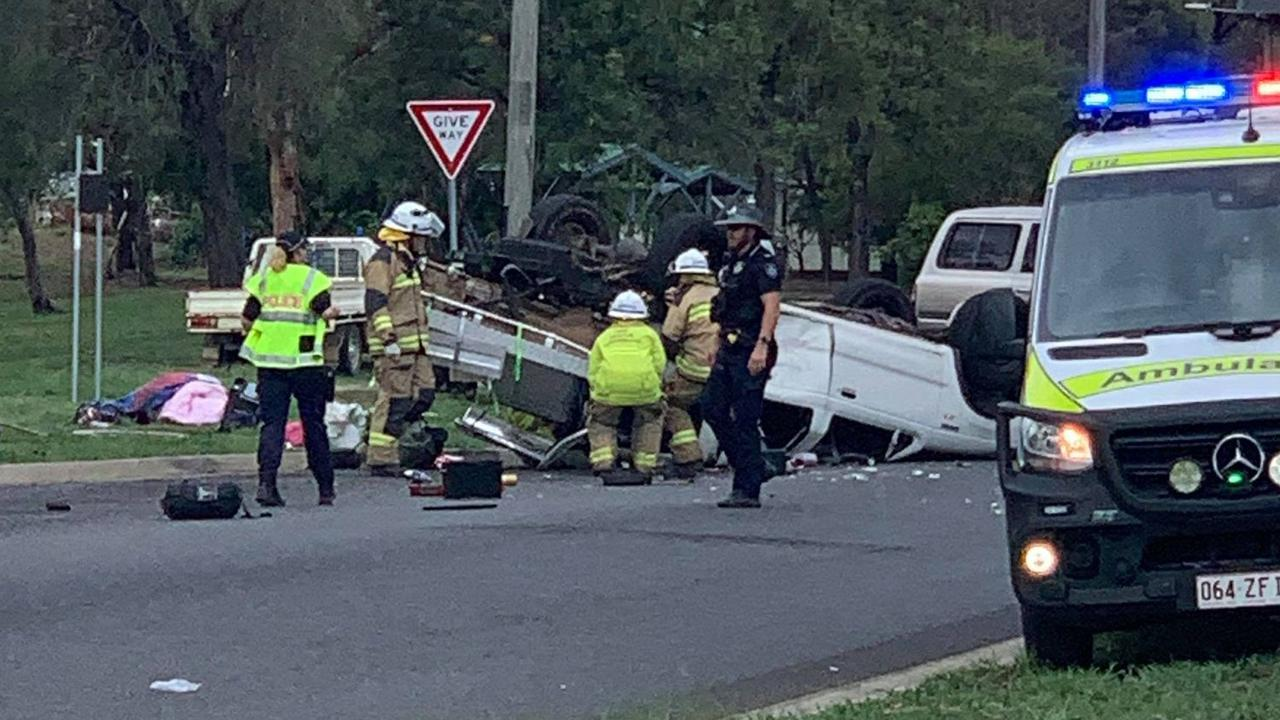 Emergency services rushed to a serious rollover in Dalby on December 21. Picture: Sam Turner
