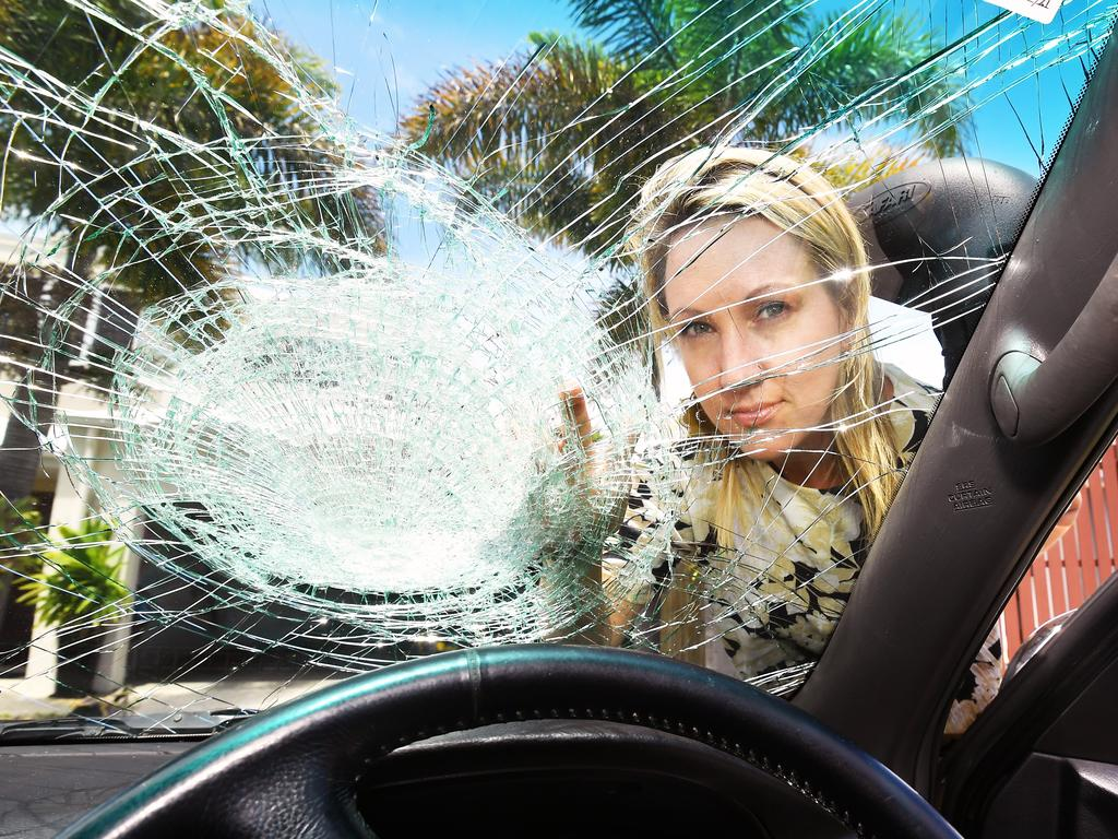 Jenny Cooper had a projectile thrown at her windscreen from an overpass on the Sunshine Motorway. Picture: Patrick Woods.