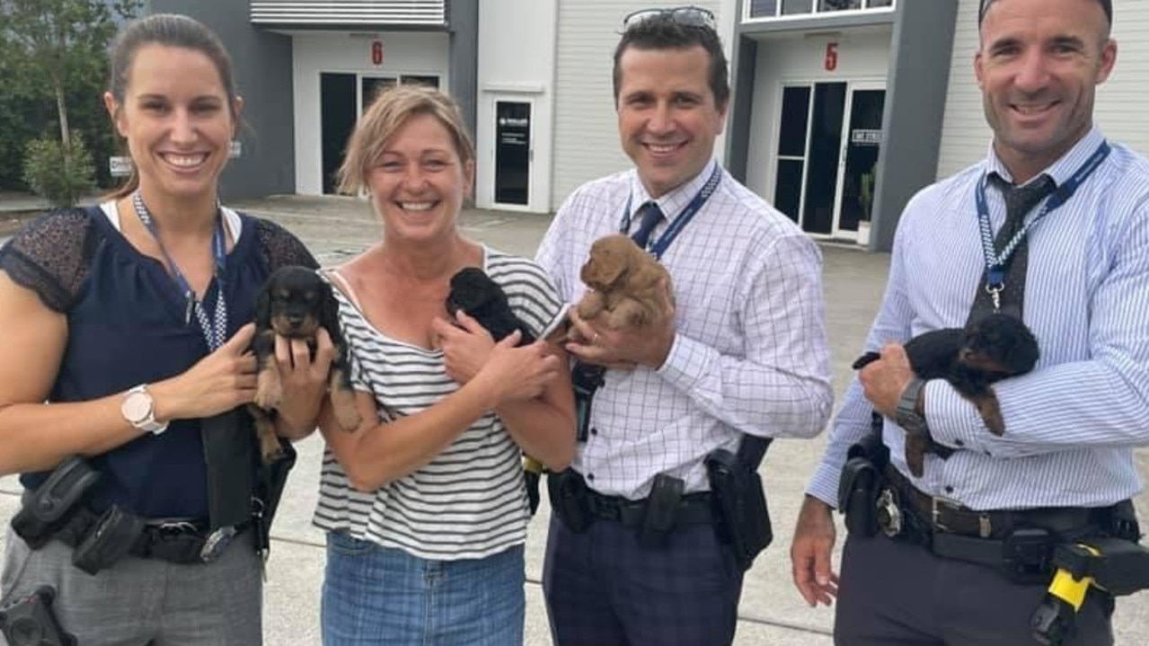 Jeni Merry with her returned puppies and the police officers who helped get the animals home. Picture: Missing and Stolen Pets Australia.