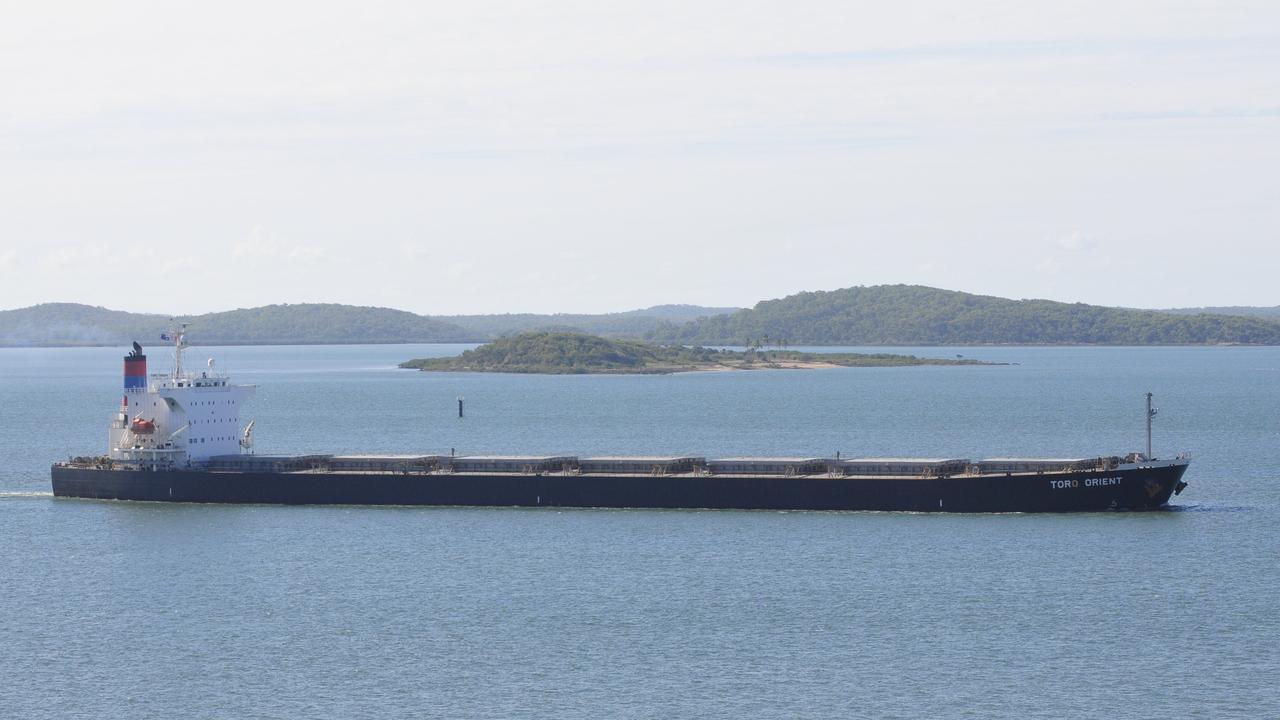 The coal ship Toro Orient departing Gladstone Harbour.
