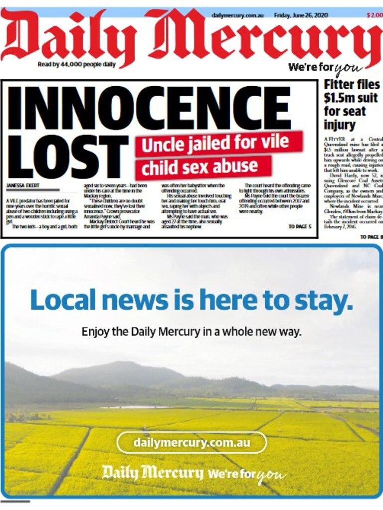 Mackay Daily Mercury June 26, 2020.