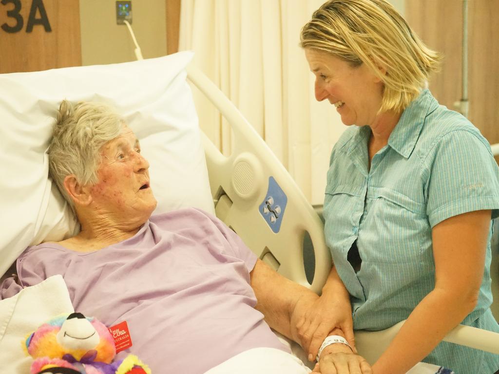 Barbara Marincic, 83, with her daughter Barbara Farren-Price at Mackay Base Hospital.