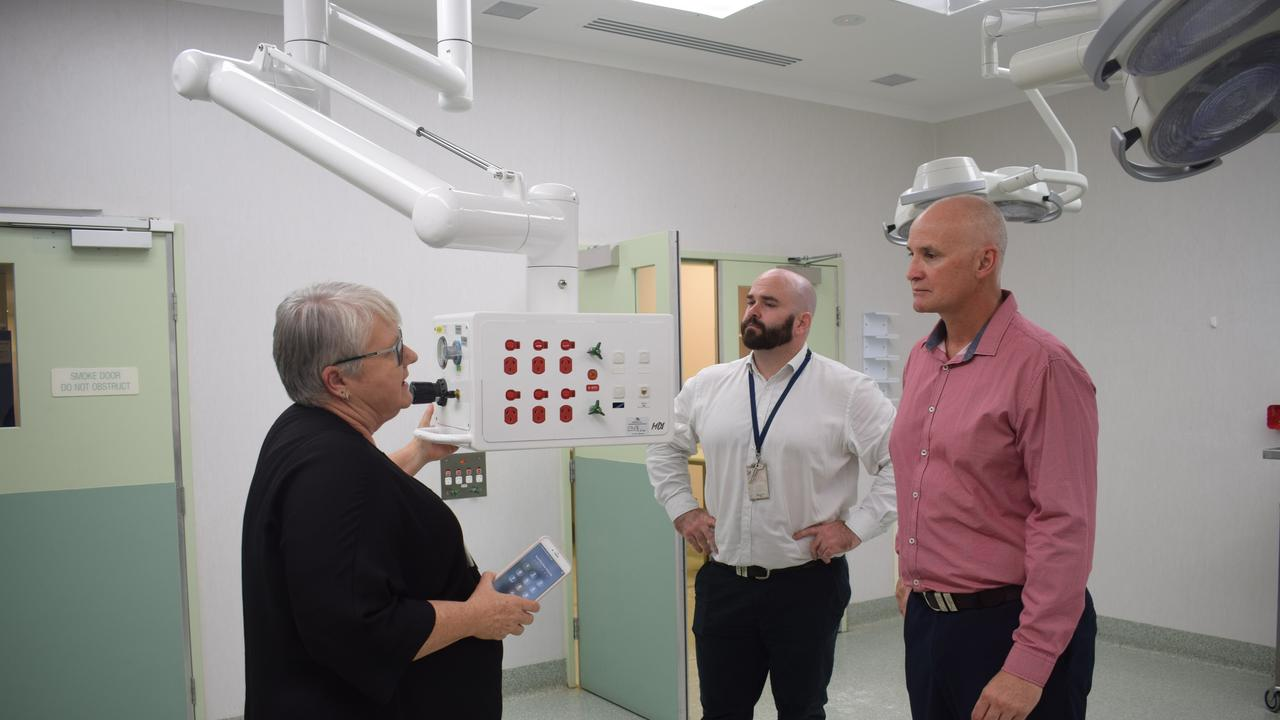 Queensland Health Nursing and Midwifery director Monica Seth, Queensland Health Director Project manager office Steven Gall and Member for Gladstone Glenn Butcher at the Gladstone Hospital West Wing day surgery unit.