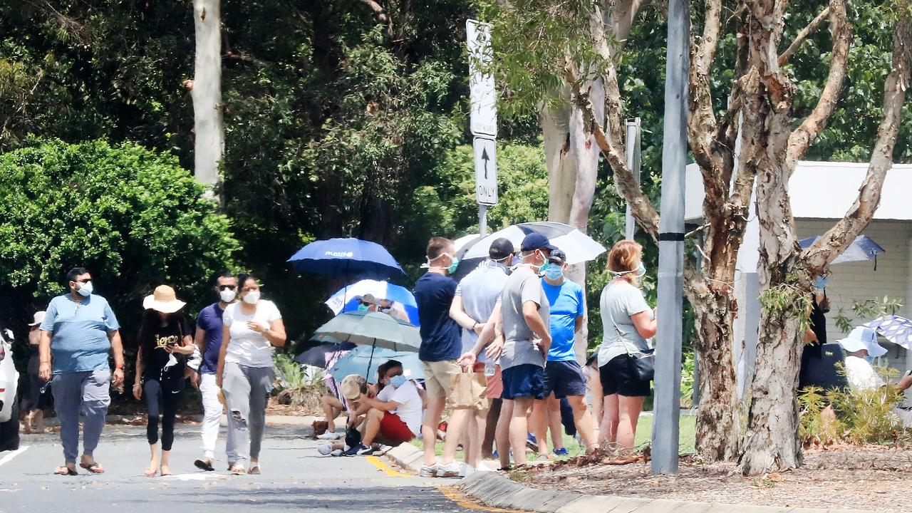 GOLD Coast coronavirus testing clinics are so overstretched sick people are fainting in the heat, being turned away or giving up after waiting six hours or more, residents claim.