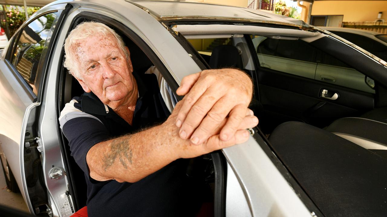 Ken Harrison, 80, has been forced off the road with a damaged car, after a naked man jumped in front and smashed his windscreen and roof. Picture: Alix Sweeney
