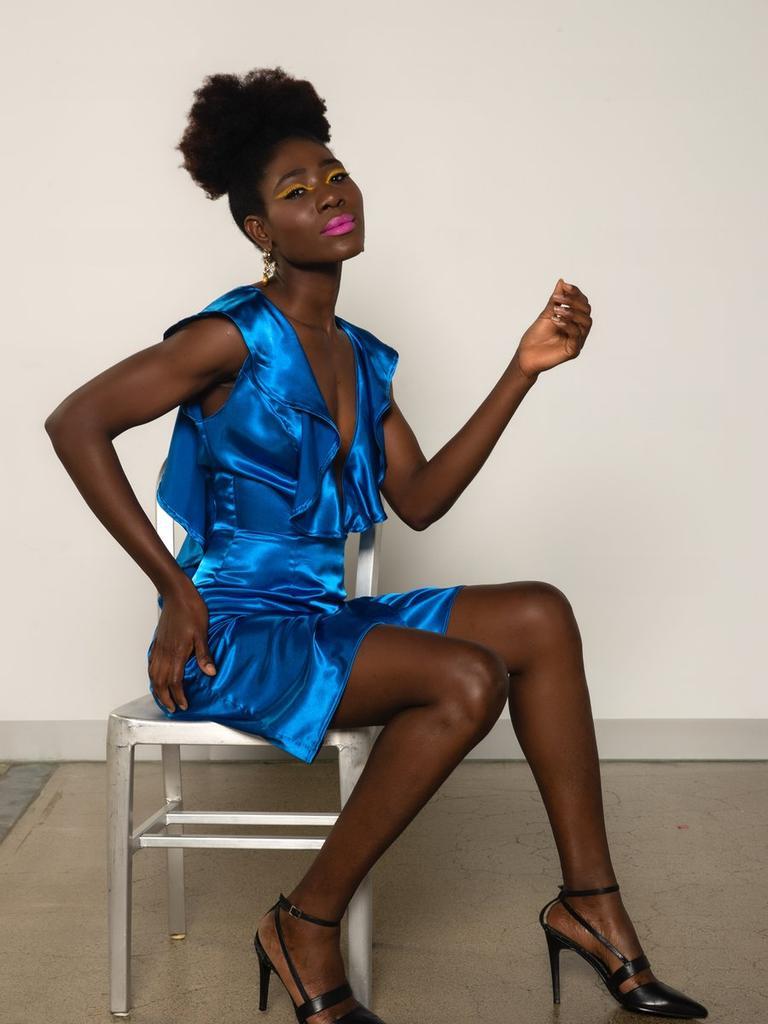 Lola Electric Satin Dress Picture: Kortni Portia
