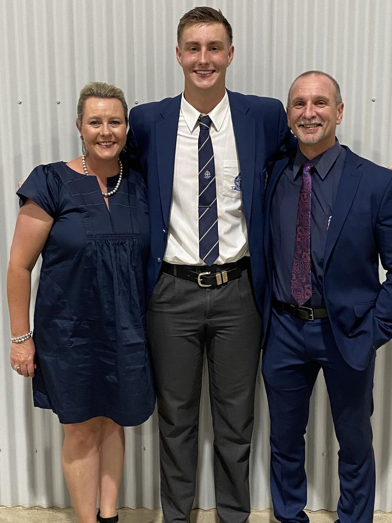 St Edmund's student Max Banditt with mum Kellie and principal Ray Celegato. Max scored a 97.8 ATAR result.