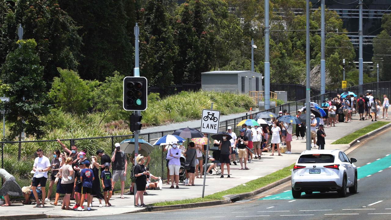 People lining up for testing at Gold Coast University Hospital. Picture: Glenn Hampson
