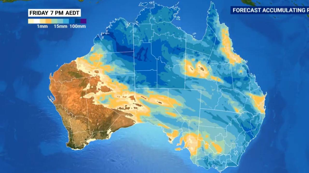 Half of Australia is expected to receive 25mm of rain or more by Christmas Day. Picture: Sky News Weather