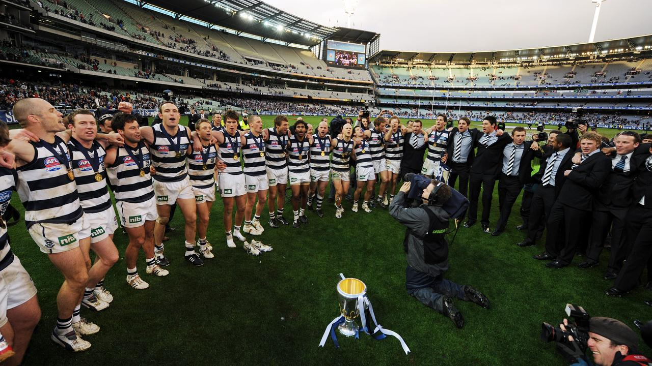 The Cats celebrate the 2009 Grand Final victory, one of three in a five-year stretch.