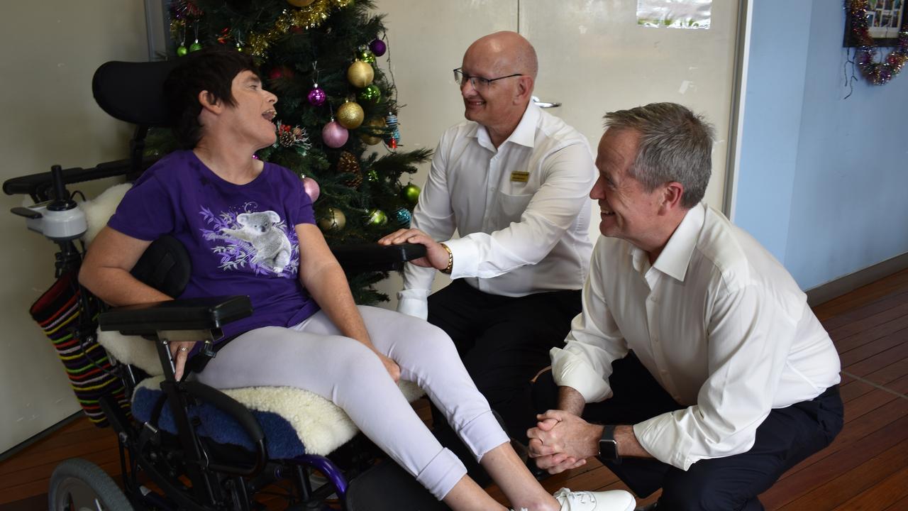 Shadow Minister NDIS Bill Shorten and Member for Blair Shayne Neumann meet recipient Angela.