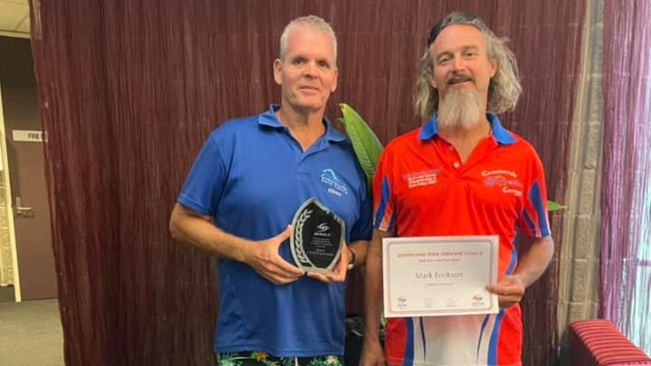 Cannonvale Cannons coaches Ken Crittenden and Mark Erickson received awards at the Queensland Long Course Championships. Picture: Supplied
