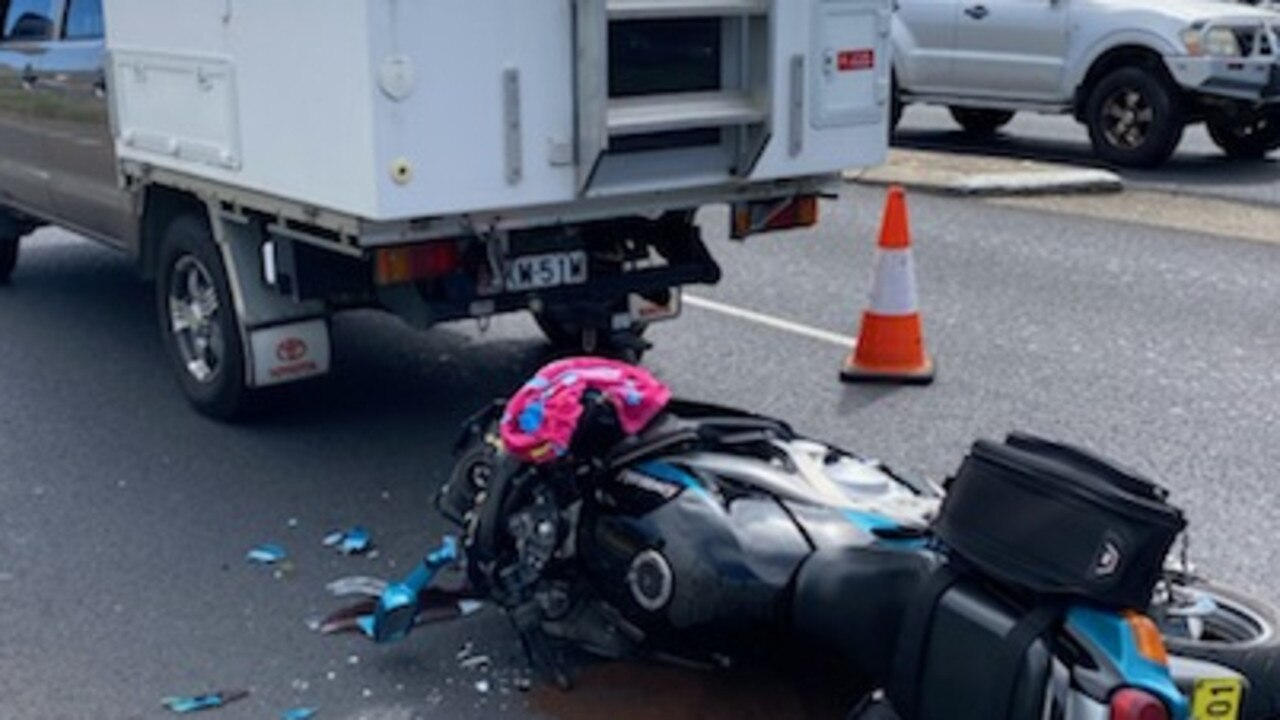 A motorcyclist was taken to hospital on Wednesday after colliding with a ute on the Pacific Highway. Photo: Frank Redward