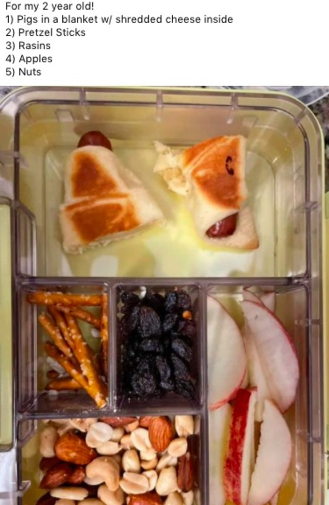A woman who shared a photo of the lunch box she packed for her toddler has been told off for packing 'extremely dangerous' items.
