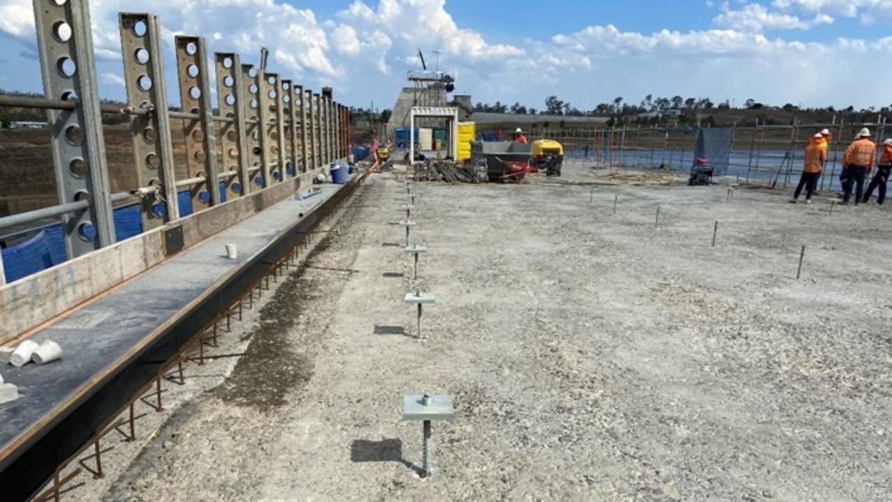 STRENGTHENING DAM: 600 passive steel bars, passive anchors, at Paradise Dam. Source: Sunwater, Paradise Dam Facebook page.