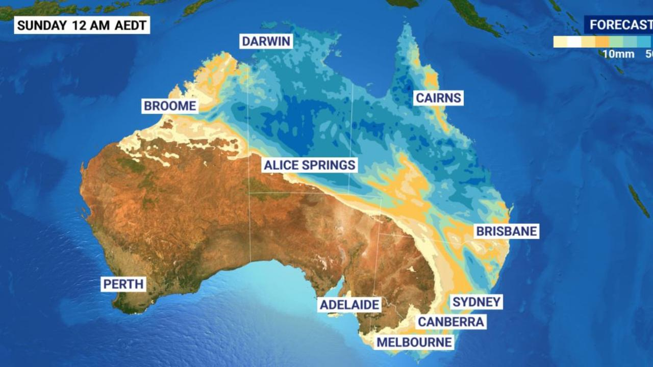 Rain forecast across Australia from Monday to Boxing Day. Picture: Sky News Weather.