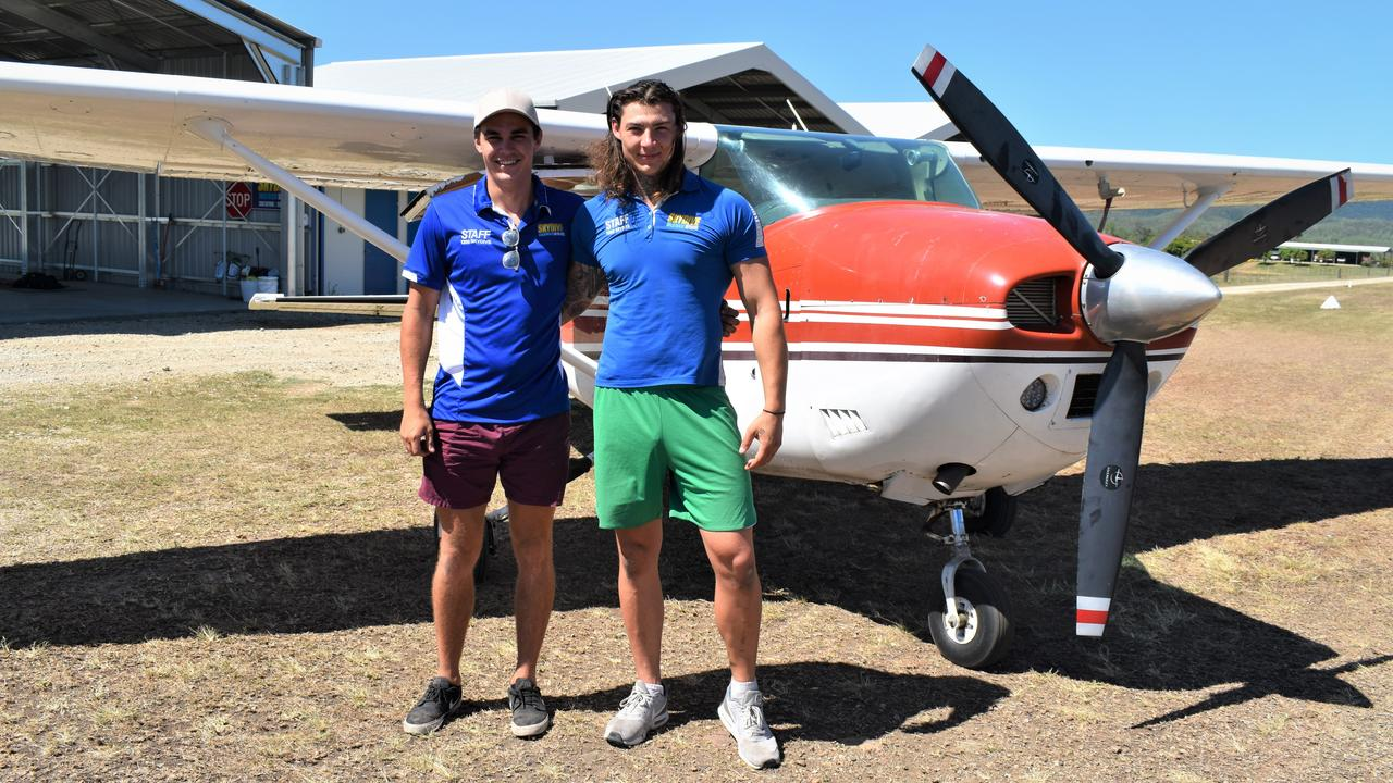 Airlie Beach Skydivers pilot Tom Sage and ground crew member Beau Close, at the hangar at Lakeside Airfield, Bloomsbury. Picture: Heidi Petith