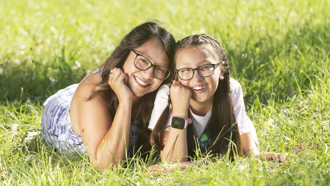 Molly Kirkman's daughter Audrey, 9, uses a TCL smartwatch to keep in touch with friends and family memers. Picture: Rob Leeson