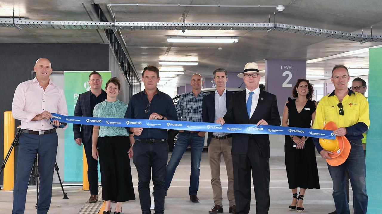 Mayor Mark Jamieson opens Mooloolaba's new car park. Picture: Patrick Woods.