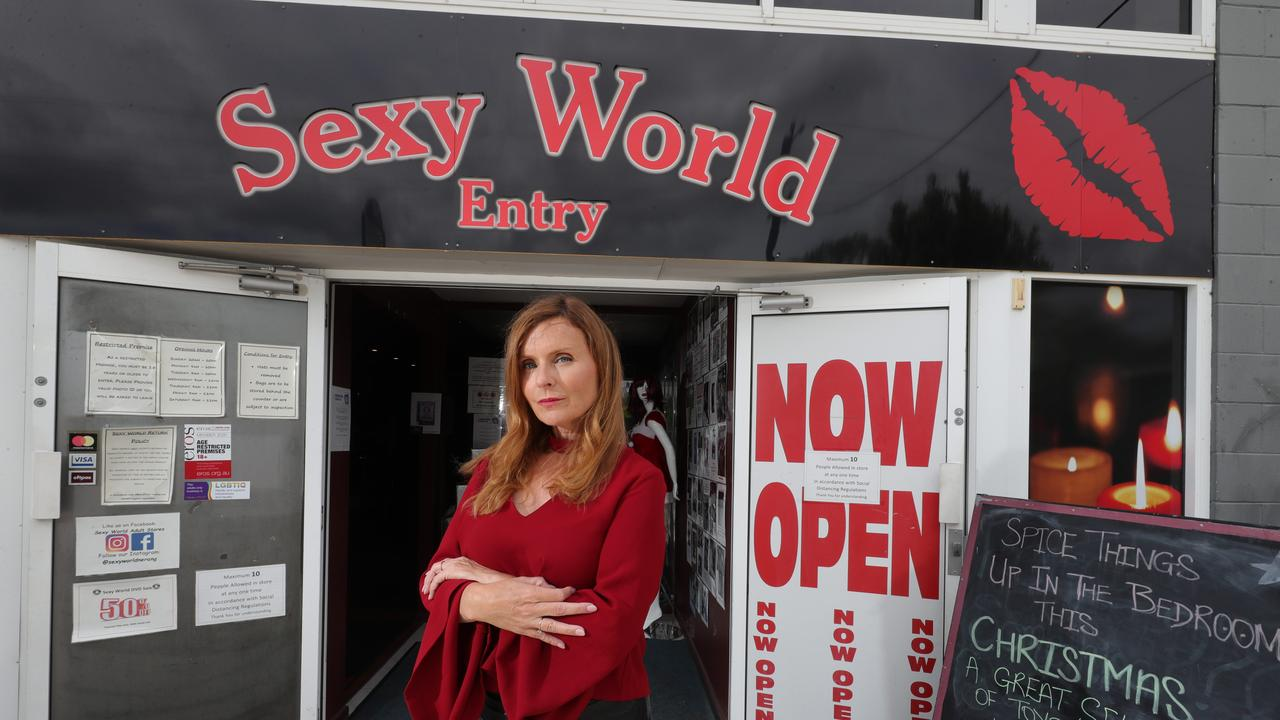 Manager Carina Thacker upset over the theft of over $20000 worth of sex toys at Sexy World Nerang. Picture: Glenn Hampson.