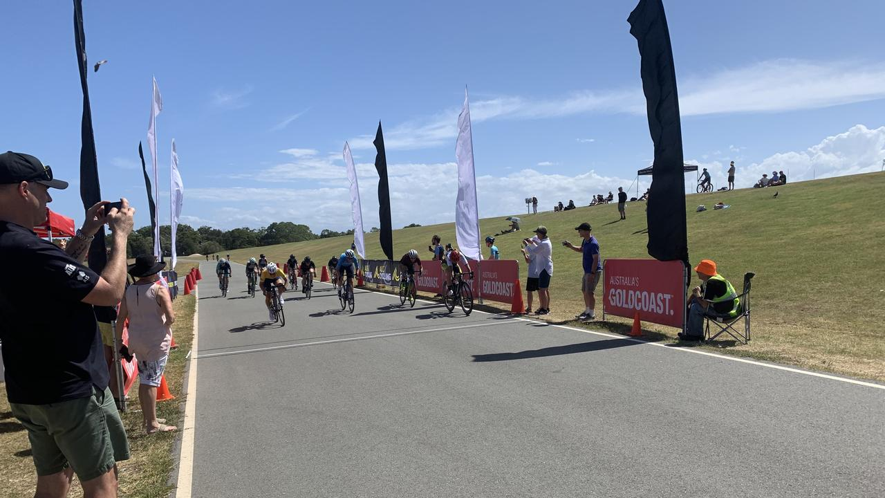 The sprint to the finish line in the National Masters Road Cycling Championships Criterium.