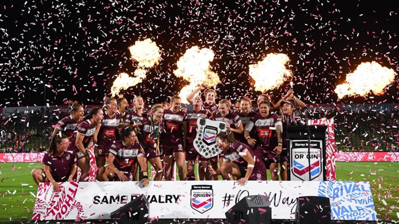 The Queensland Maroons women celebrate their State of Origin victory at Sunshine Coast Stadium. Picture: NRL Images