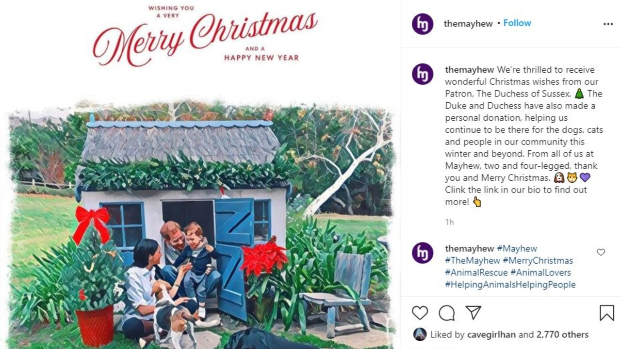 Meghan and Prince Harry's Christmas card. Picture: Instagram/Mayhew