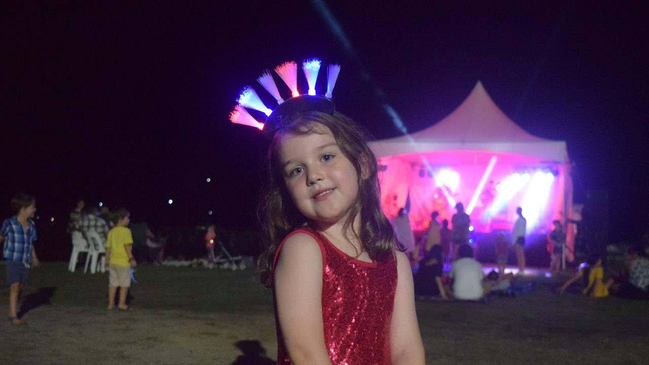 Lucy Mayberry, 6, from Airlie Beach celebrated New Year at the Whitsunday Sailing Club last year. Picture: Laura Thomas